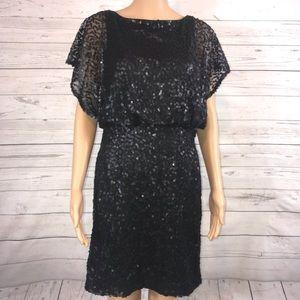 Jessica Howard Evening black sequins mini dress